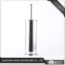 Free standing round stainless steel toilet brush/Household cleaning toilet brush with stand