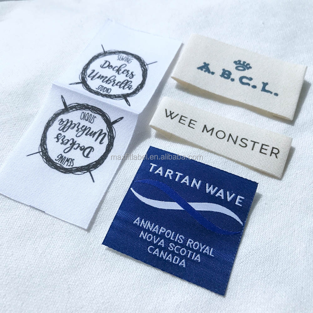 Custom High Quality Fancy Clothing labels Woven Labels Garment Labels