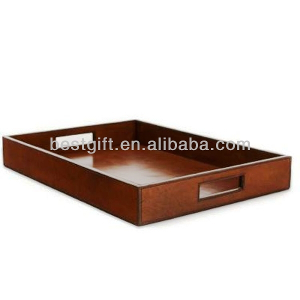 Top quality PU leather serving trays for wedding simple classic design