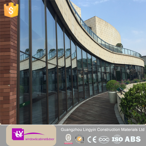 2015 mordern style aluminum frame 127mm blue reflective glass curtain wall with aluminum louvre and swing out window