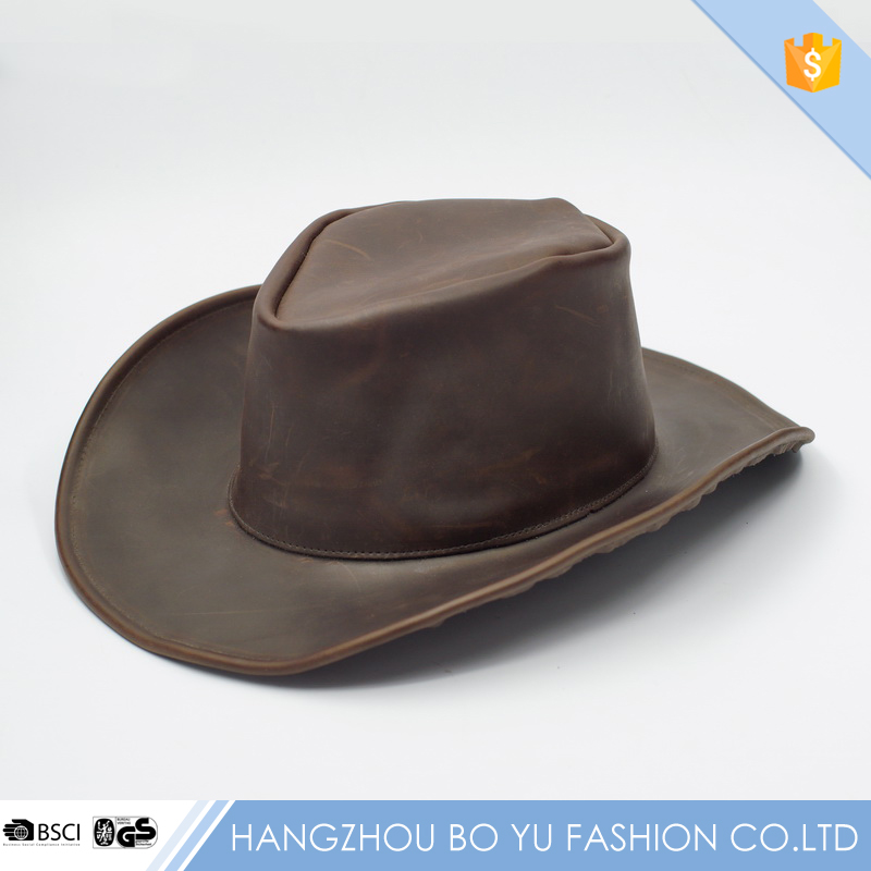 New Design Top Grain Genuine Leather Cut and sew Fabric Western Cowboy Safari Ourdoor Hat For Men Hut Chapeau [BY-760271]