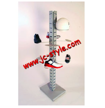 free standing adjusted metal sport shoe shelf display rack/metal sport goods display stand for shoe shop promotion