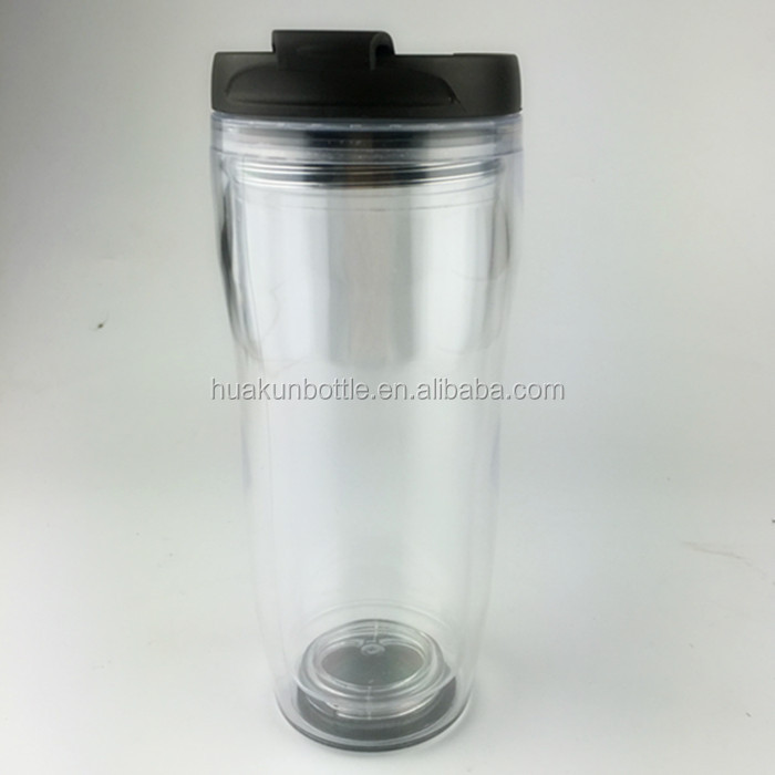 double wall clear acrylic plastic coffee tumbler with advertising removable paper insert, outdoor water drink cup with lid