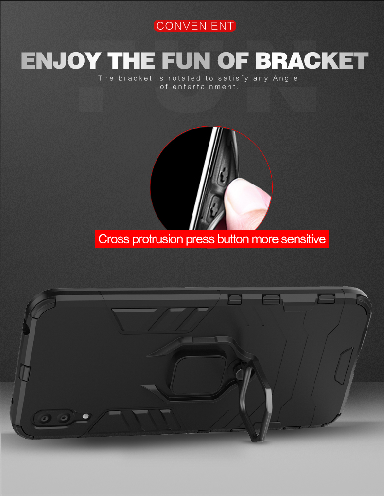 Luxury 360 degree ring holder magnetic adsorption phone back cover For huawei y7 2019 cover