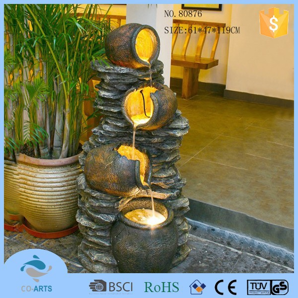 Polyresin 4 tier bucket molding waterfall fountains outdoor