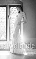 S1261 Sexy scoop see through long sleeve lace fish cut wedding dress