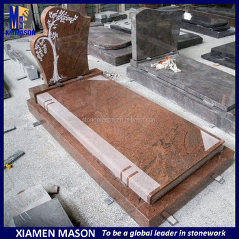Mason carved book shaped grave monuments slab with tree headstone