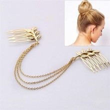 Gold plated combs hair chain jewelry, Elegant girls hair accessories, hair comb