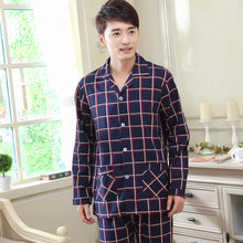 Men's Plaid Cotton Latex Pajamas Dika With Pants Blouse China Wholesale Market
