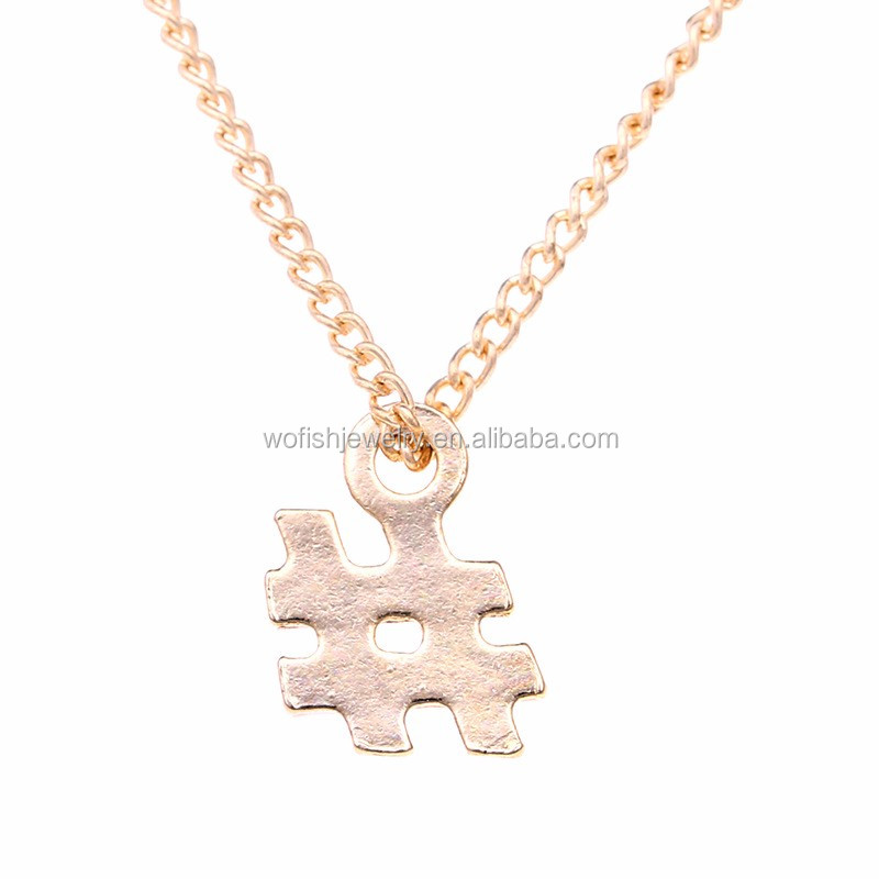 Gold plated delicate tiny pound sign pendant necklace hash sign charm necklace
