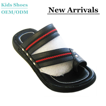 2015 New Hot-selling Rubber Skidproof Genuine Leather Beach Slippers For Children