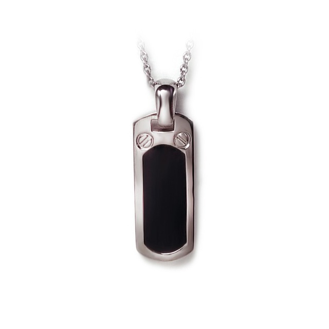 unisex simple round and square pure titanium pendant with black enamel for couple women men