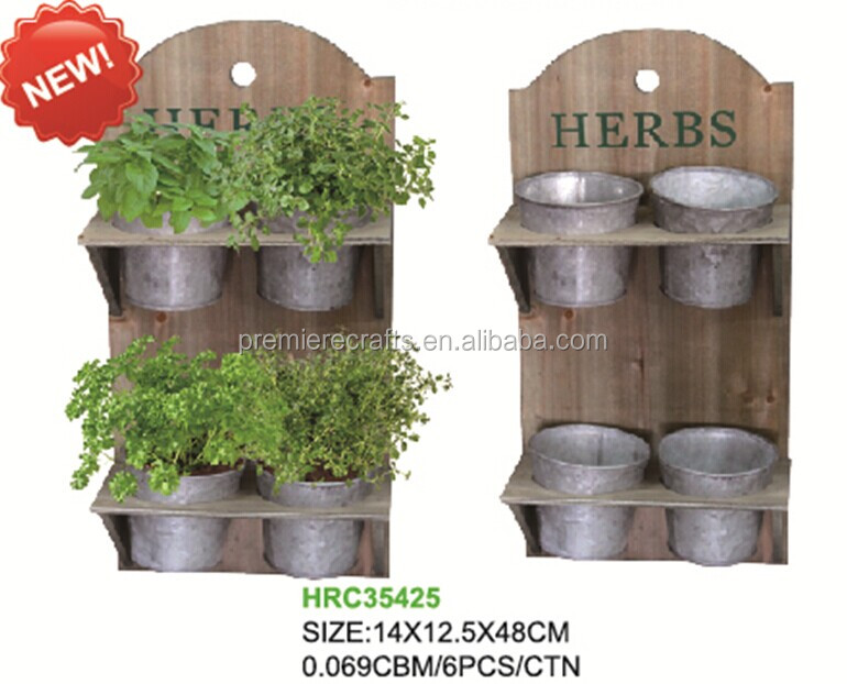 2015 unique new design hanging wooden/wood kitchen herb planter with four individual metal planter pot and soil and seeds