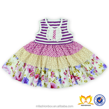 2016 Stripes And Flower Sleeveless Dress 1-6 years old Girls One Piece Dress Baby Cotton Frocks Designs Dress