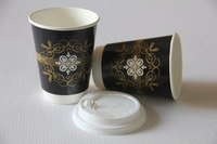 Take away printed disposable double wall paper hot drink coffee cup with lids 12oz