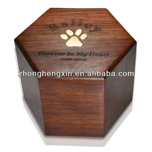 Wooden hexagon walnut pet urns chinese funeral supply
