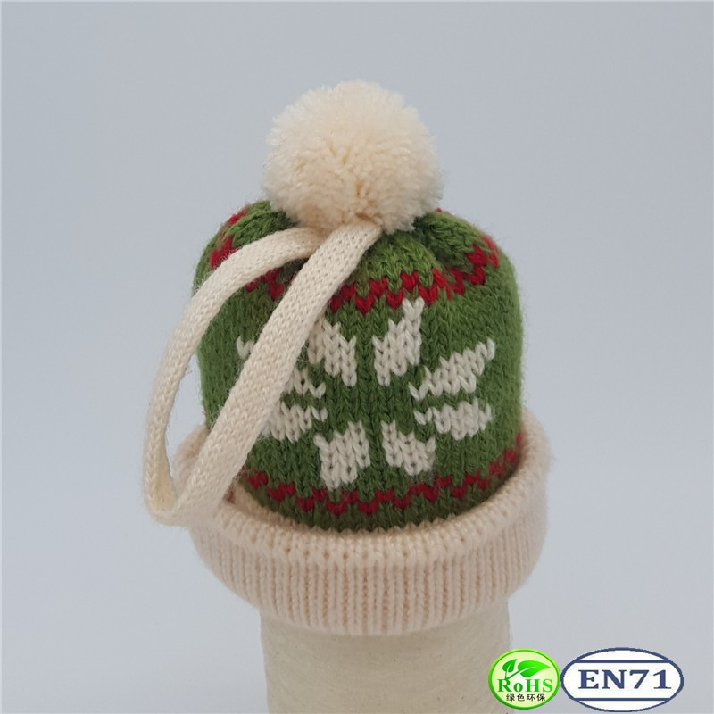 Knitted Wine Bottle Decoration Hat Christmas Wine Bottle Knitted Hat