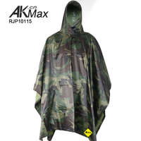 Army PVC Rain Military Waterproof Poncho Camoflage Raincoat WIth hooded