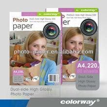 Factory price! 220G A4 size Dual-side High Glossy Inkjet Photo Paper