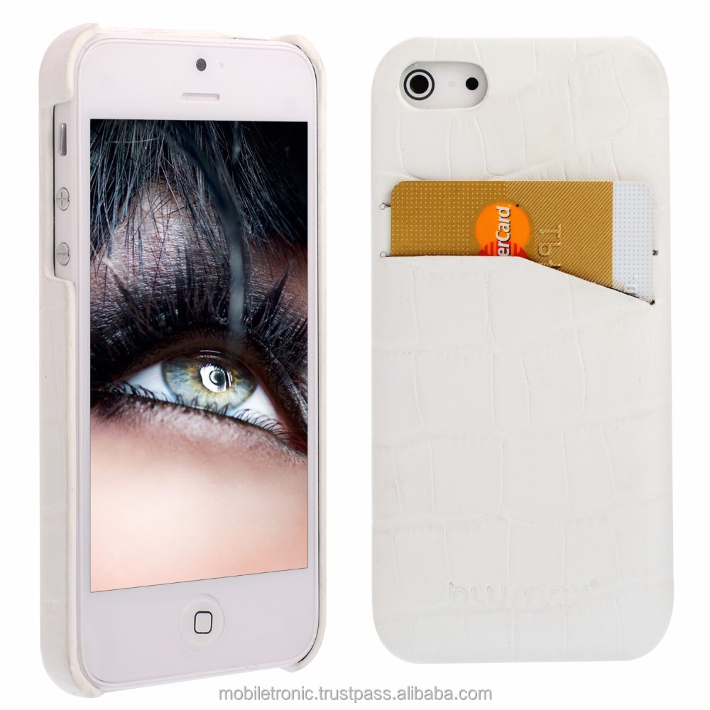 Geniune Leather Backcover case for iPhone 5S / 5 Croco White Cow Leather