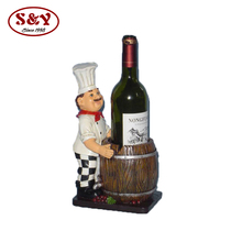Cute chef figurine resin wine bottle holder for restaurant decoration