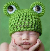 RZWOLF wholesale green animal pattern handmade crochet baby beanie hats with ear