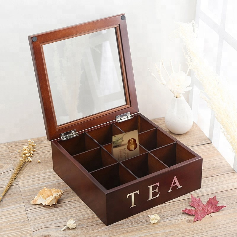 2018Hotsale Rustic style glass skylight lid wooden coffee tea box storage display box