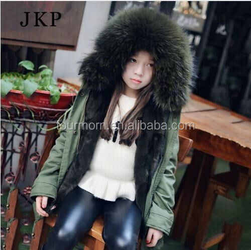 2017 New Winter Kids Coat Hooded Raccoon Fur Collar Child Fur Parka With Real Rex Rabbit Fur Lining