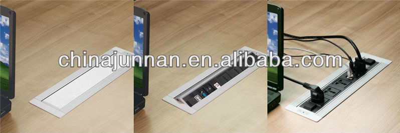 Rotation hidden desktop socket/ Schuko / HDMI / RCA/ rj45 / USB / VGA / 6.35mm Audio etc. for meeting table