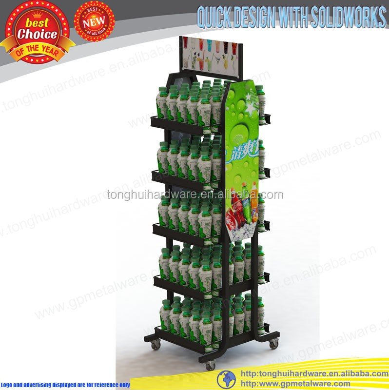 double sided metal beverage display rack