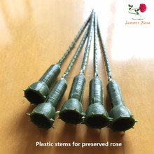 Green color 12cm length arttificial plastic rose stems flower stems for A grade pereserved roses