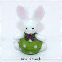 Hand blown glass easter cartoon rabbit with green apron purple scafe lampwork animal figurine sculpture