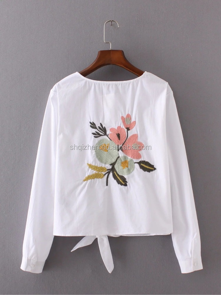 High quality women white long sleeve fashionable blouse back neck embroidery design