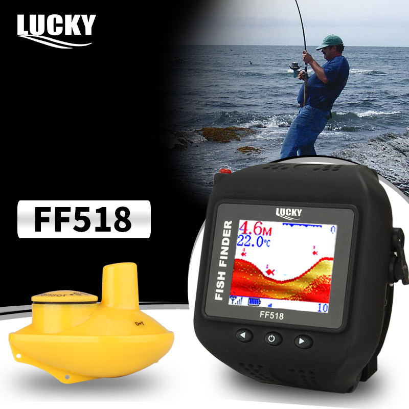 Lucky portable wireless fishfinder transducer FF518 hot sale watch fish finder sonar for outdoor sport