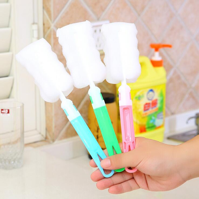 Free sample New Environmental can remove handle sponge Cleaning Brushes For Glass Milk Bottle/ Cup Brush use Family