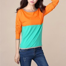 women fashion blouse neck designs cutting photo casual big size patchwork color tops