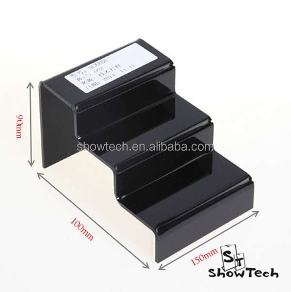 Black acrylic plastic step/ladder goods display stand, acrylic goods stand holders ST-SCARBB-06