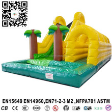 Outdoor Inflatable Coconut Tree Wet / Dry Slide, Inflatable Tunnel Twisted Water Park For Kids