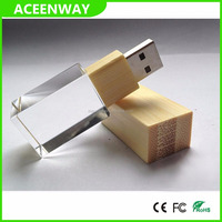 High quality custom 8GB/16GB/32GB/64GB wooden crystal usb