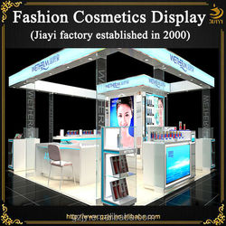 Hot selling wooden skincare displays for shopping mall kiosk store trade show booth furniture