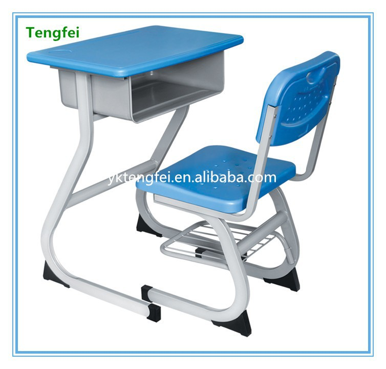 Good design nice price plastic single school desk and chair school furniture