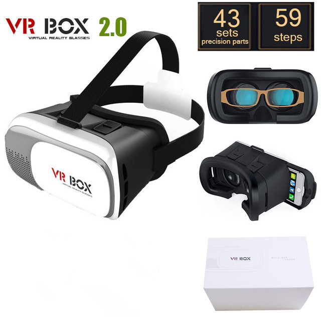 "New and Hot VR BOX 2.0 Version VR Virtual Reality Glasses Google Cardboard 3d Game Movie Glasses for 3.5"" - 6.0"" Smart Phone"