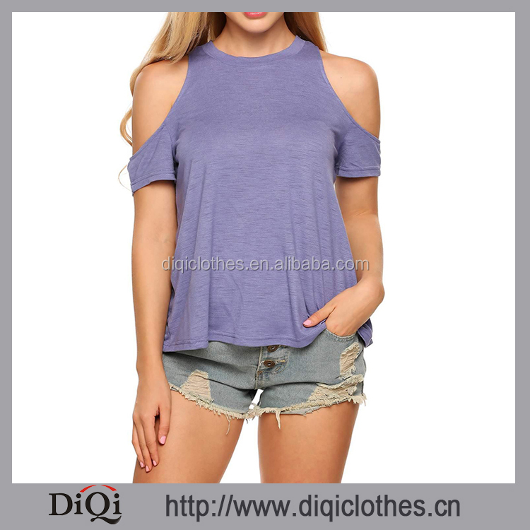 Summer Women Casual O-neck Style Mix color Short Sleeve Cold Shoulder Back Cross Split Loose Tops