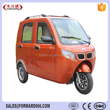 Fully enclosed motorized tricycles for handicapped