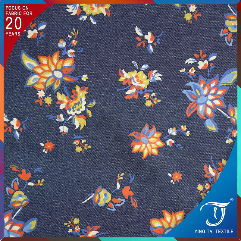 95% cotton 5% spandex floral printed cotton lycra jersey denim fabric for garment