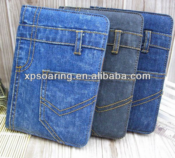 Fashion wallet jeans leather case for ipad mini