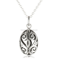 925 Sterling Silver Filigree Oval Bola cage Pendant necklace
