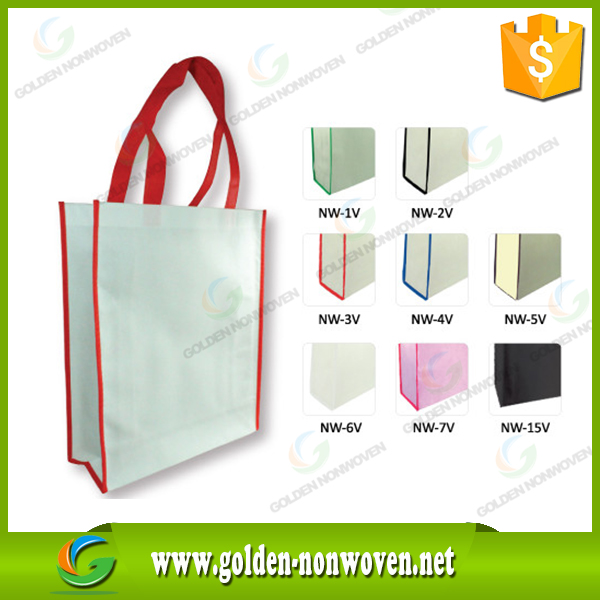 Promotional Customized nonwoven supermarket bag/Laminated Eco Fabric Tote 100gsm colored pp non woven shopping bag