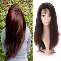 Highlight color 99J 18 inch silky straight virgin brazilian hair cheap lace front wig with baby hair