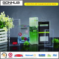 2014 New style super quality unique soft crease auto-lock bottom clear plastic pvc pet cosmetic folded box for hanging